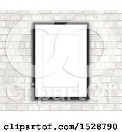 3d Blank Picture Frame On A White Brick Wall