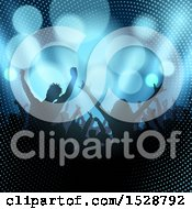 Clipart Of A Silhouetted Crowd Of People In An Audience With Halftone And Flares Royalty Free Vector Illustration