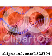 Clipart Of A Dna Strand And 3d Virus Background Royalty Free Illustration
