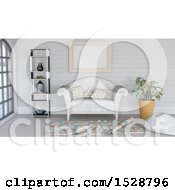 Clipart Of A 3d Modern Lobby Or Living Room Interior Royalty Free Illustration