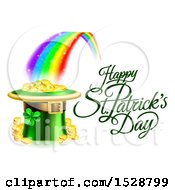 Clipart Of A Happy St Patricks Day Greeting At The End Of A Rainbow With A Leprechaun Hat Full Of Gold Royalty Free Vector Illustration by AtStockIllustration