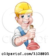 Happy White Male Plumber Holding A Plunger Around A Sign