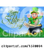 Happy St Patricks Day Greeting With A Leprechaun Sitting On A Cauldron Of Gold