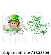 Clipart Of A Happy St Patricks Day Greeting By A Leprechaun Breaking Through White Brick Wall Royalty Free Vector Illustration by AtStockIllustration