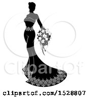 Silhouetted Black And White Bride In Her Wedding Gown