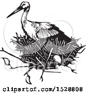 Stork Bird In A Nest Black And White Woodcut