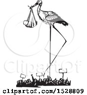 Clipart Of A Stork Bird Standing Over A Protesting Crowd With A Bundled Baby Black And White Woodcut Royalty Free Vector Illustration
