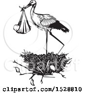 Clipart Of A Stork Bird Standing In A Nest With A Bundled Baby Black And White Woodcut Royalty Free Vector Illustration