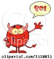 Round Red Devil Waving And Saying Yo
