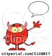 Round Red Devil Waving And Talking