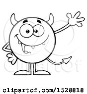 Clipart Of A Black And White Round Devil Waving Royalty Free Vector Illustration