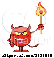 Poster, Art Print Of Round Red Devil Holding A Lit Match