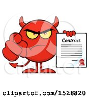 Clipart Of A Round Red Devil Holding A Contract And Pointing At The Viewer Royalty Free Vector Illustration