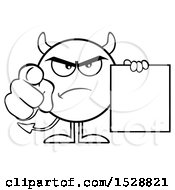 Clipart Of A Black And White Round Devil Holding A Document And Pointing At The Viewer Royalty Free Vector Illustration