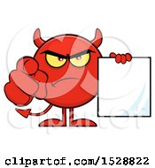 Round Red Devil Holding A Document And Pointing At The Viewer