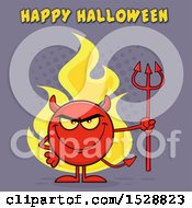 Poster, Art Print Of Round Red Devil Holding A Pitchfork And Grinning With Flames And Happy Halloween Text On Purple
