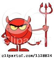 Clipart Of A Round Red Devil Holding A Pitchfork And Grinning Royalty Free Vector Illustration