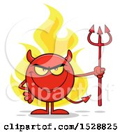 Round Red Devil Holding A Pitchfork And Grinning With Flames