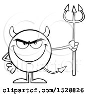 Clipart Of A Black And White Round Devil Holding A Pitchfork And Grinning Royalty Free Vector Illustration