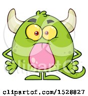 Clipart Of A Short Green Monster Sticking His Tongue Out Royalty Free Vector Illustration