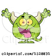 Clipart Of A Short Green Monster In A Scare Pose Royalty Free Vector Illustration