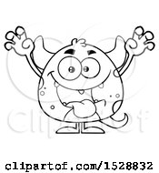 Clipart Of A Black And White Short Monster In A Scare Pose Royalty Free Vector Illustration