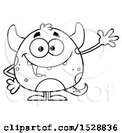 Clipart Of A Black And White Short Monster Waving Royalty Free Vector Illustration