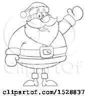 Clipart Of A Black And White Happy Christmas Santa Claus Presenting Royalty Free Vector Illustration