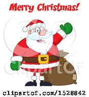 Clipart Of A Merry Christmas Greeting Over Santa Claus Royalty Free Vector Illustration
