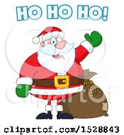 Clipart Of A Happy Christmas Santa Claus Saying Ho Ho Ho And Presenting Royalty Free Vector Illustration