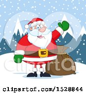 Clipart Of A Happy Christmas Santa Claus Presenting In The Snow Royalty Free Vector Illustration