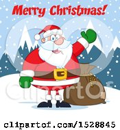 Clipart Of A Merry Christmas Greeting Over Santa Claus In The Snow Royalty Free Vector Illustration