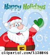 Clipart Of A Happy Holidays Greeting Over Santa Claus Royalty Free Vector Illustration