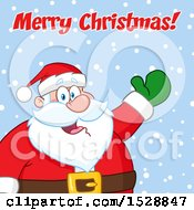 Merry Christmas Greeting Over Santa Claus In The Snow
