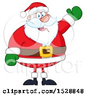 Clipart Of A Happy Christmas Santa Claus Presenting Royalty Free Vector Illustration