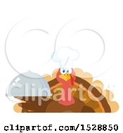 Clipart Of A Thanksgiving Chef Turkey Bird Holding A Cloche Platter With Text Space Royalty Free Vector Illustration