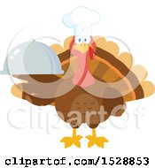 Clipart Of A Thanksgiving Chef Turkey Bird Holding A Cloche Platter Royalty Free Vector Illustration