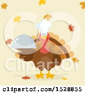 Clipart Of A Thanksgiving Chef Turkey Bird Holding A Cloche Platter Over Falling Autumn Leaves Royalty Free Vector Illustration