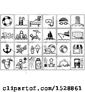 Clipart Of Black And White Summer Travel Icons Royalty Free Vector Illustration