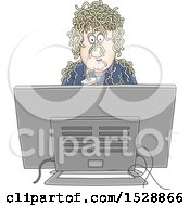 Clipart Of A Man Holding A Soda And Watching Fake News With Noodles On His Head Royalty Free Vector Illustration