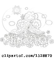Clipart Of A Black And White Happy Sun Over A Cottage With Daisy Flowers Royalty Free Vector Illustration by Alex Bannykh
