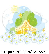 Clipart Of A Happy Sun Over A Cottage With Spring Daisy Flowers Royalty Free Vector Illustration