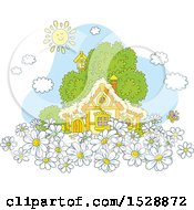 Clipart Of A Happy Sun Over A Cottage With Daisy Flowers Royalty Free Vector Illustration