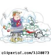 Clipart Of A Happy Man Shoveling Snow Around His Car Royalty Free Vector Illustration