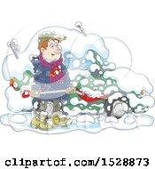 Poster, Art Print Of Happy Man Shoveling Snow Around His Car