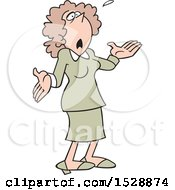 Clipart Of A Cartoon White Business Woman Looking Up And Saying What Now Royalty Free Vector Illustration