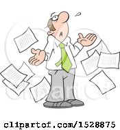 Cartoon White Business Man Surrounded By Documents Looking Up And Saying What Now