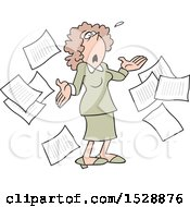 Clipart Of A Cartoon White Business Woman Surrounded By Documents Looking Up And Saying What Now Royalty Free Vector Illustration