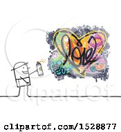 Clipart Of A Stick Man Spray Painting A Love Heart Graffiti Design Royalty Free Vector Illustration