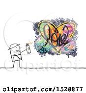 Poster, Art Print Of Stick Man Spray Painting A Love Heart Graffiti Design